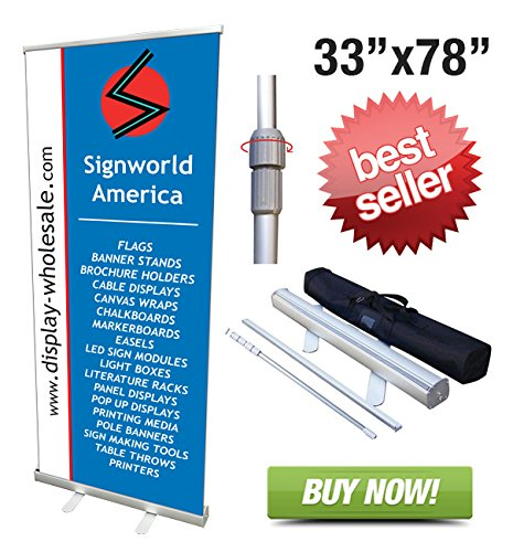 amazoncom signworld 33 retractable roll up banner stands vinyl print business and store signs office products