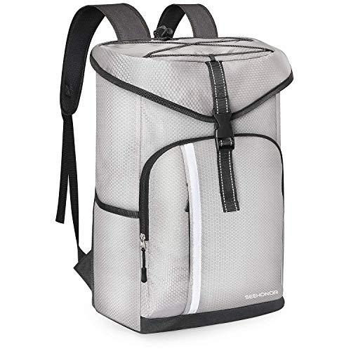 SEEHONOR Insulated Cooler Backpack Leakproof Soft Cooler Bag Lightweight Backpack Cooler with Bottle Opener for Lunch Picnic Hiking Camping Beach Fishing Travel Trips 30 Cans, Silver