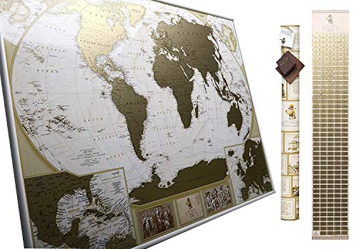 MyMap Deluxe Large World Scratch Off Map w/ EnLarge Europe and Caribbeans Map | 35 x 25 inc Push Pin Travel Map To Mark 10.000 Cities  | Anniversary Birthday ()