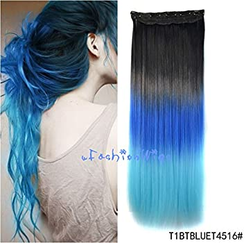 Amazoncom Black To Blue To Sky Blue Three Colors Ombre Hair