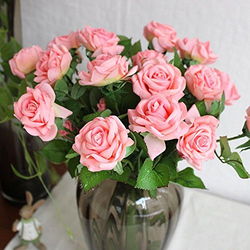 10 Pcs Real Touch Silk Artificial Rose Flowers Silk Gluing PU Fake Flower Home Decorations for Wedding Party or Birthday Garden Bridal Bouquet Flower Saint Valentine's Day Gifts Party (Hot Pink Rose Bouquet)