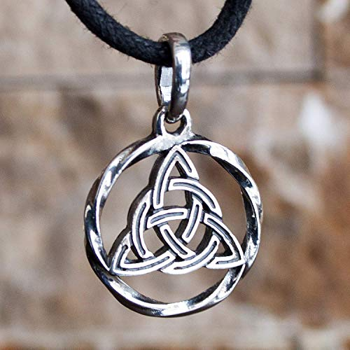 Celtic Triquetra Trinity Knot Pendant Necklace 925 Sterling Silver Infinity Circle Symbol Charm Good Luck Endless Love Amulet Irish Witchcraft Jewelry for Women Handmade (Trinity Infinity)