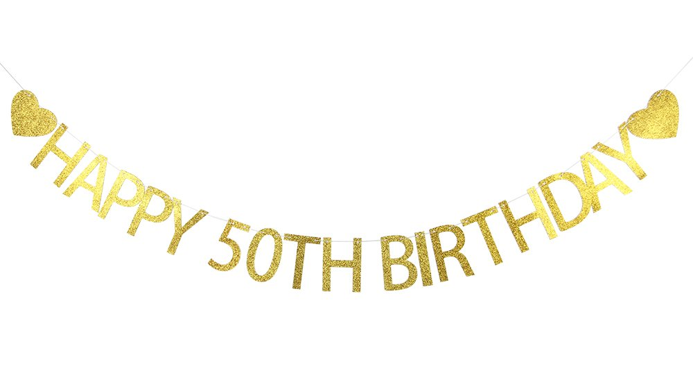 Lovely BITON Gold Happy 50th Birthday Banner Decoration Kit Themed Party Banner for Birthday Wedding Showers Photo Props Window Decor
