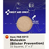 "First Aid Only 6013 Moleskin/Blister Protection- 2"" Squares- 10/Box"