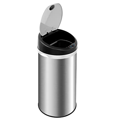 Clevr 13.2 Gal Deodorizer Hands Free Stainless Steel Trash Can Automatic Sensor  Bin, Odor