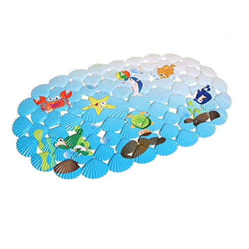 Lovely Sea World PVC Non-Slip Bath Mat with Suction Cups Blue