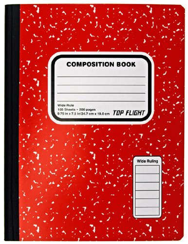 Top Flight Colored Marble Composition Book, 100 Sheets, Wide Rule, 9.75 x 7.5 Inches, 1 Book, Cover Color May Vary (41352) - Colored Marble