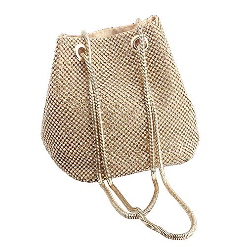 JAIN YA NA Full Rhinestones Bucket Bag for Women Fashion Shoulder Bag Purses Crossbody Bags with Long Chain Evening Bag for Wedding Party (Bucket - Bags Bride Evening Womens