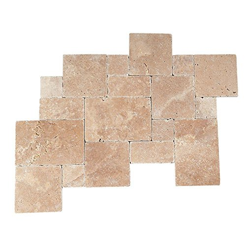 Travertine Inca Brown Blended Paredon Pattern Natural Stone Floor and Wall Tile Kit (6 sq. ft. / kit) - Daltile Natural Stone