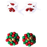 FENICAL 2 Pairs Nipple Cover Reusable Silicone Breast Petals Pasties in Sequin with Christmas Jingle Bells and pom pom…