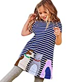 Clearance Sale!OverDose Toddler Kids Baby Girls Short Sleeve Dresses Tunic Striped Cartoon Animal Print Outfits Children Costume