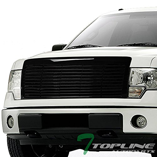 Ford F150 Hood Scoops - Topline Autopart Glossy Black Horizontal Front Hood Bumper Grill Grille ABS For 09-14 Ford F150