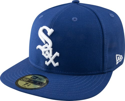 White 59fifty Fitted Cap - New Era MLB Chicago White Sox Light Royal with White 59FIFTY Fitted Cap, 7 3/8