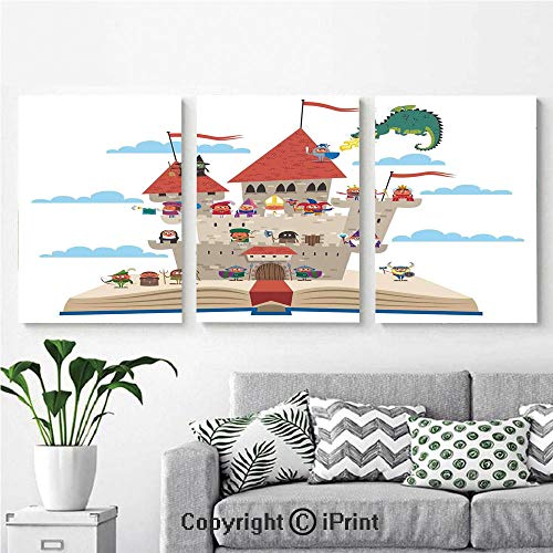 Modern Salon Theme Mural Fairy Tale Story Book Castle King Queen Princess Dragon Witch Knight Wizard Vikings Theme Print Painting Canvas Wall Art for Home Decor 24x36inches 3pcs/Set, ()