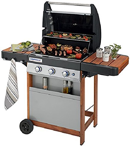 Campingaz Gas BBQ 3 Series Woody LX, 3 burner stainless steel gas barbecue, wooden BBQ trolley & side tables, gas grill with cast iron grid & griddle, plancha, garden grill, easy bbq cleaning