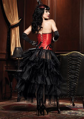 Long Tulle Bustle Skirt with Satin Bow and Gather Lace Front