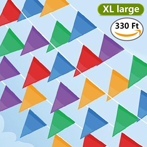 Caroyla 330ft Pennant Banner Flags, XL Large Pennant Flag Banner Multi-color Pennants, 200pcs Nylon Fabric Decoration Flags for Carnival Birthday Party or Other Events