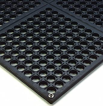 "Wearwell Natural Rubber 789 Modular Worksafe Light Conductive ESD Mat, for Static Control , 3' Width x 3' Length x 1/2"" Thickness, Black"