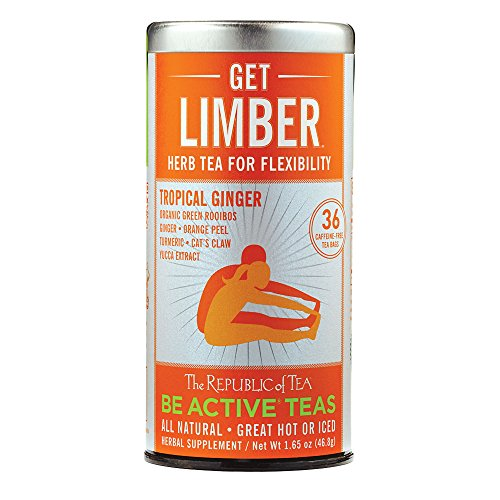 The Republic Of Tea Be Active Green Rooibos Tea - Get Limber - Herbal Tea For Flexibility, 36 Tea Bag Tin