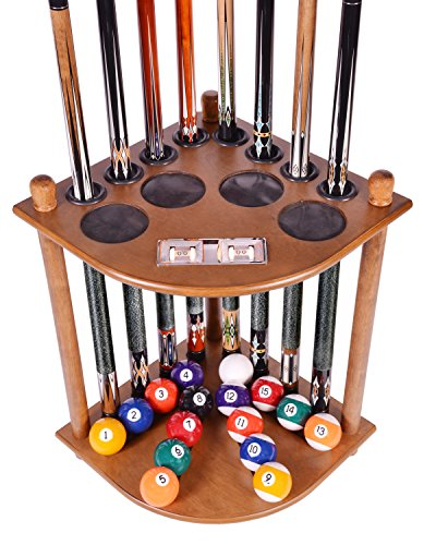 (Cue Rack Only - 8 Pool Billiard Stick & Ball Floor Stand With Scorer Oak Finish)