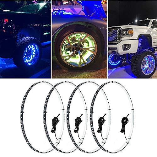 Beatto 15.5inch RGB LED Wheel Ring Light Kit Bluetooth Control w/Turn Signal and Braking Function-4PCS (Single side)