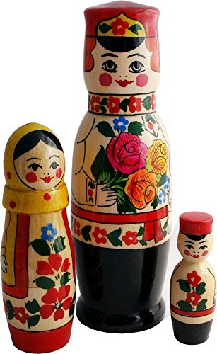 [Nesting Matryoshka Dolls - Russian Family in Traditional Peasant Costumes - 3 pc Set - Hand painted Stacking Toy - Original Wedding Gift - 8