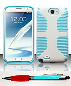 Accessory Factory(TM) Bundle (the item, 2in1 Stylus Point Pen) For Samsung Galaxy Note 2 N7100 - PC+SC Hybrid Case Cover Protector Baby Blue White HYB