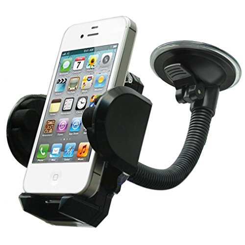 Universal Car Windshield Holder Window Suction Cup Mount for iPhone 6 6S, Plus, 5S 5C 5 4S - Samsung Galaxy S6, S6 Edge, S5, S4, S3, S2, Mini, Active - Galaxy Note 5 4 3 2 Edge - LG G2 G3 G4 V10