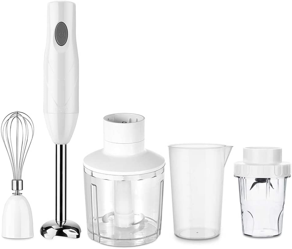 AILY Immersion Hand Blender, 5-in-1 8-Speed Stick Blender with 500Ml Food Grinder, BPA-Free, 600Ml Container,Milk Frother,Egg Whisk,Puree Infant Food, Smoothies, Sauces and Soups