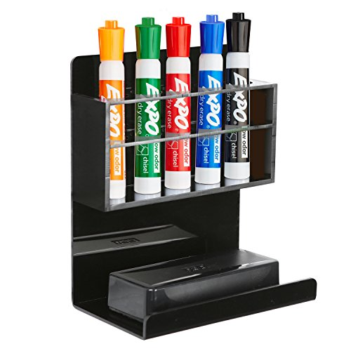 Deluxe Black Acrylic Wall Mounted 5 Slot Whiteboard Dry Erase Marker and Eraser Organizer/Holder Rack