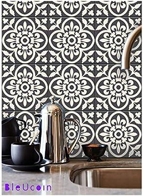 Bleucoin Moroccan Encaustic Peel and Stick Tile Stickers for Kitchen  Backsplash Bathroom Old Tiles Wood Glass Linoleum Waterproof Removable Eco