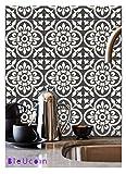 tiles for bathrooms  Moroccan Encaustic Peel and Stick Tile Stickers for Kitchen backsplash Bathroom Floor Tile Waterproof Removable Vinyl 4 x 4 inch - Pack of 44