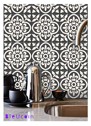 (Bleucoin Moroccan Encaustic Peel and Stick Tile Stickers for Kitchen Backsplash Bathroom Old Tiles Wood Glass Linoleum Waterproof Removable Eco Friendly Decals,DIY Vinyl (Pack of 44, Size: 4