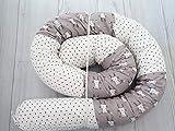 Handmade Gray and White Cotton Fabric Bunny Baby Crib Bumper, Long Snake Pillow, Nursery Bedding, Nursery Decor