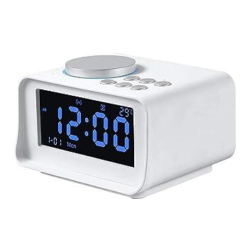 WSMLA Radio Reloj Despertador Altavoz Bluetooth inalámbrico ...