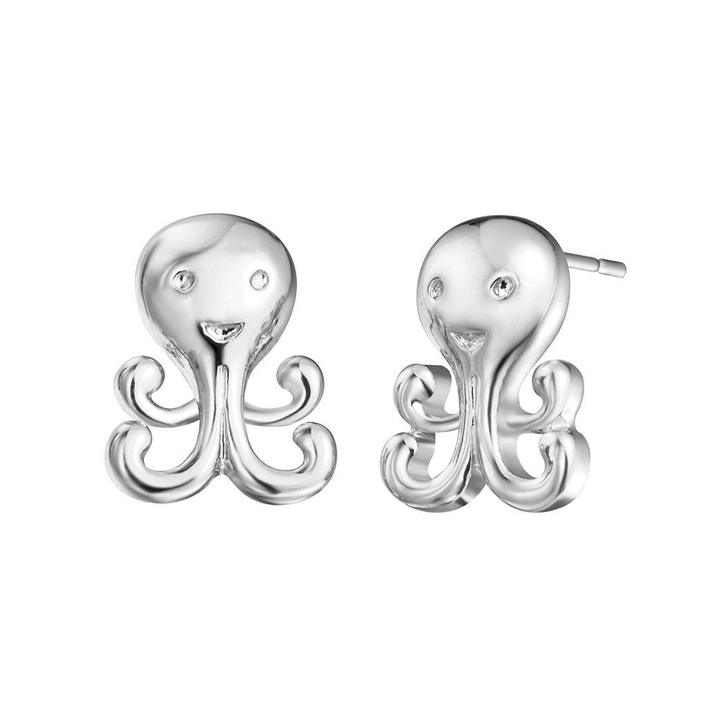 925 Sterling Silver Octopus Kids Girls Women Stud Earrings Jewellery