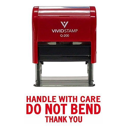 Handle With Care DO NOT BEND Self Inking Rubber Stamp (Red Ink) - Medium -