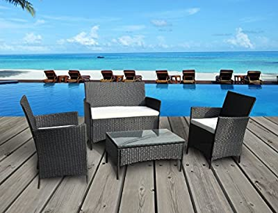 The French Riviera Collection - 4 Pc Outdoor Rattan Wicker Sofa Patio Furniture Set. Choice of Set & Cushion Color