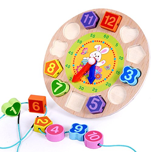 Elloapic Wooden Round Children's Teaching Clocks Time Learning Color Wooden Shape Sorting (Wooden Teaching Clock)