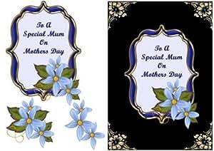 Flores azules en marco de soporte–el día de la madre por Lorna Quinney