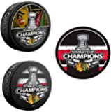 (3) Chicago Blackhawks Stanley Cup Souvenir Hockey Pucks (2010, 2013, 2015)