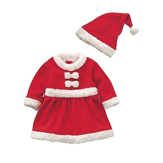 Cosanter Pijamas y Algodón Conjunto de Navidad Forrado con Durmiente Disfraz  Bebé Niño Papá Noel Invierno 40a33a3a7024
