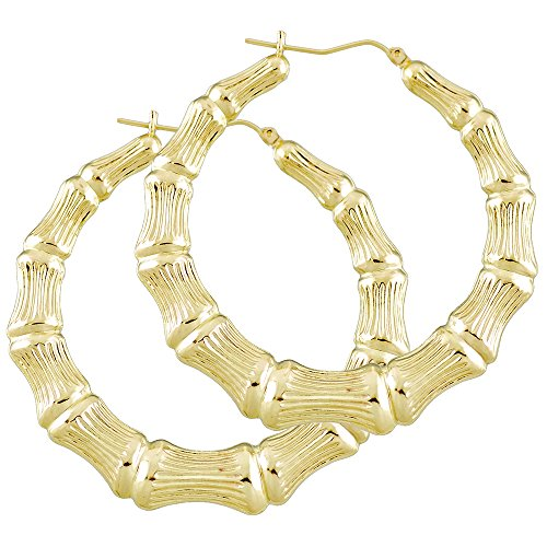 - 14K Gold Round Hollow Doorknocker Bamboo hoop Earrings 2 1/4 inches.