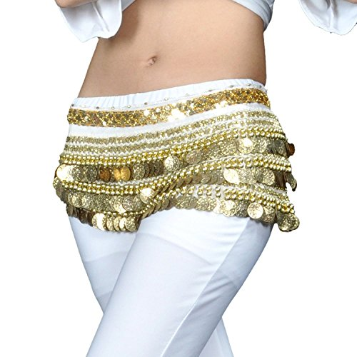 Coin Multi Row - AK-Trading Multi-Row 258 Gold Coins Velvet Belly Dance Hip Scarf - White