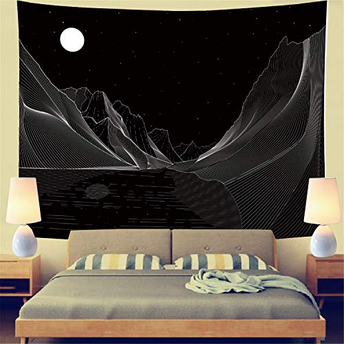 """Moon Mountain Tapestry Abstract Sketch Mountain River Art Wall Tapestry Black and White Tapestry Hippie Bohemian Paychedelic Tapestry Wall Hanging for Bedroom Living Room Dorm (W78.7"""" × H59.1"""")"""