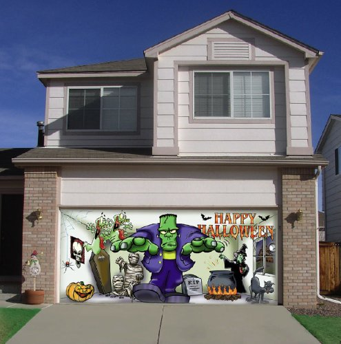 Frank and Friends Outdoor Halloween Holiday Garage Door Décor 7'x16' (Halloween Decorations For Garage Door)