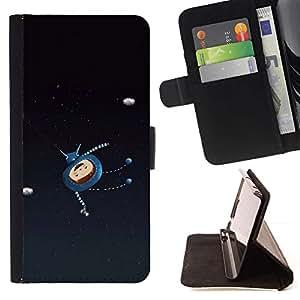 LG Magna / G4C / H525N H522Y H520N H502F H500F (G4 MINI,NOT FOR LG G4)Case , Personaje de dibujos animados feliz astronauta- la tarjeta de Crédito Slots PU Funda de cuero Monedero caso cubierta de piel