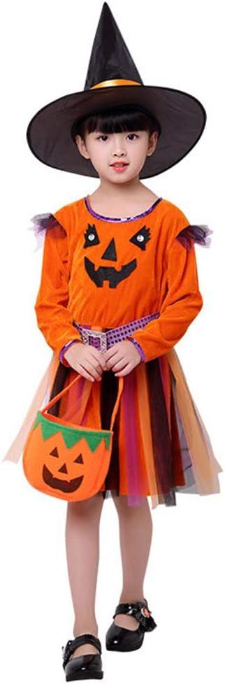 nihiug Brujas Ropa de Chica Ángeles diablos Elf niñas bebés Disfraces de Halloween para niños Faldas Ropa Aristocráticas Lindo,Orange-120cm