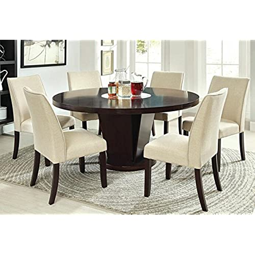 7 pc Cimma collection contemporary style espresso finish wood round pedestal dining table set with lazy susan  sc 1 st  Amazon.com & 60 Inch Round Dining Room Tables: Amazon.com