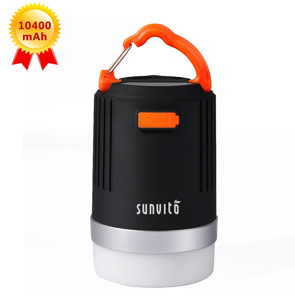 Camping Lantern, Sunvito Bright 2-in-1 LED Camping Lamp & 10400mAh Power Bank, IP65 Waterproof Rechargeable Emergency Lantern - Ideal for Camping Backpacking Hiking Fishing (USB Powered)